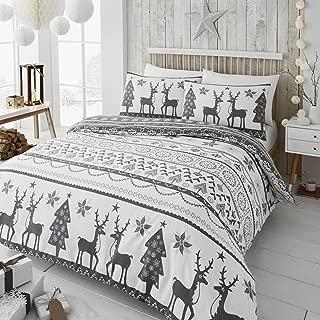 Happy Linen Company Festive Scandi Nordic Christmas Grey UK Single/US Twin Duvet Cover Bedding Set