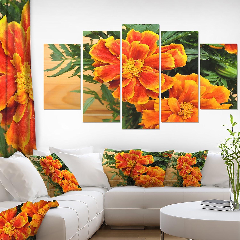 Designart Pt14154 271 Marigold Flower On Wooden Background Floral Work Print Canvas Art 48x28 Green Amazon In Electronics