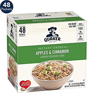 Quaker Instant Oatmeal, Apples & Cinnamon, 1.51oz Packets (48 Pack)
