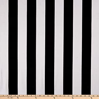 Ben Textiles 58'' Striped Canvas White/Black Fabric