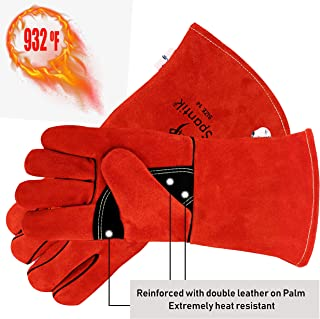 Genuine Cowhide Leather Welding Gloves 16 Oz 14 Inch   Best for Stick Welding, Mig, OxyAcetylene Professionals Forge Heat Fire Resistant BBQ Grilling Oven Mitts Fireplace Camping Furnace