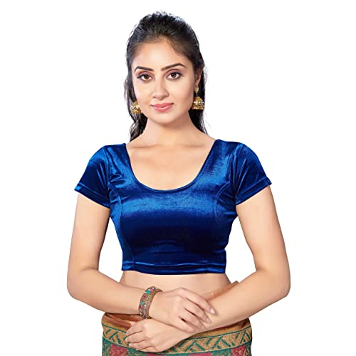 760fd0ce56f TrendyFashionMall Women s Trendy Stretchable Velvet Saree Blouse Solid  Color Crop Top Collection!