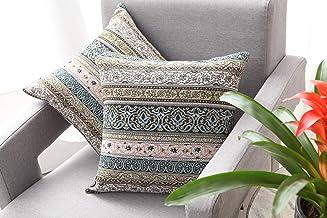 JSBYY Boho Throw Pillow Covers Super Farmhouse Cushion Cases Set of 2 45x45 cm 18x18 inch (BOHO-5, 18x18)