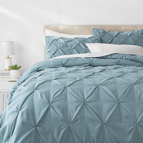 AmazonBasics Pinch Pleat Comforter Bedding Set Full Queen Spa Blue