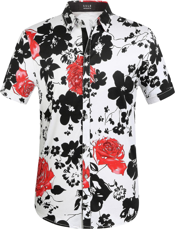 SSLR Men's Casual Button Down Shirts Short Sleeve Hawaiian Shirts for Men