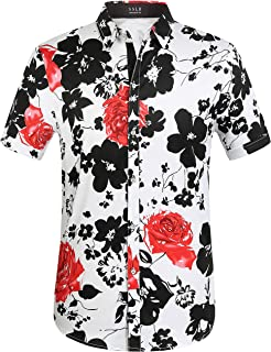 Men's Cotton Button Down Short Sleeve Hawaiian Shirt