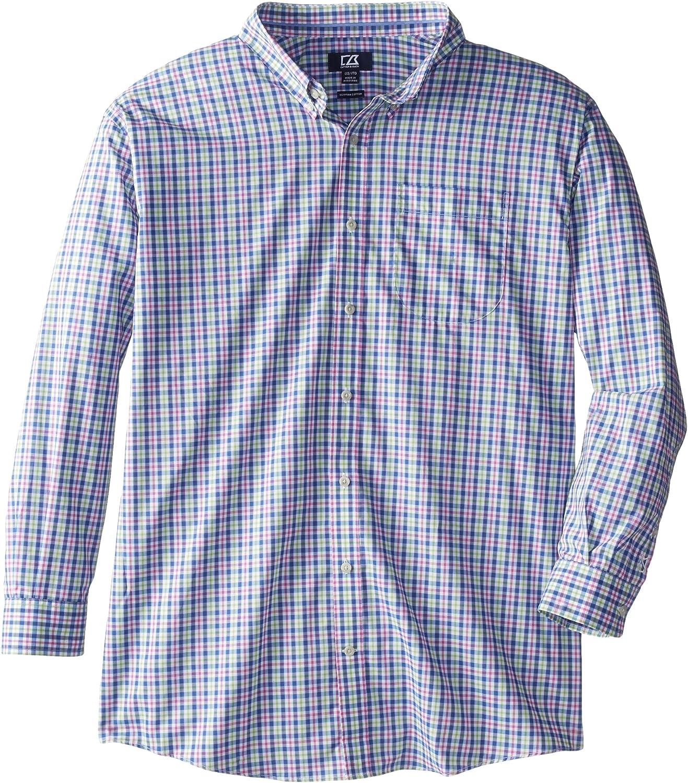 Cutter & Buck Men's Big-Tall Long Sleeve Evergreen Plaid Shirt
