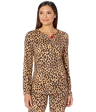 LAUREN Ralph Lauren Brushed Jersey Long Sleeve Henley Joggers Pajama Set (Leopard) Women