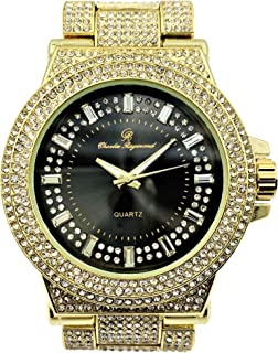 Bust Down Your Wrist with This Hip Hop Bling-ed Out Gold Tone w/Black Dial Mens Watch - 8720 Gold