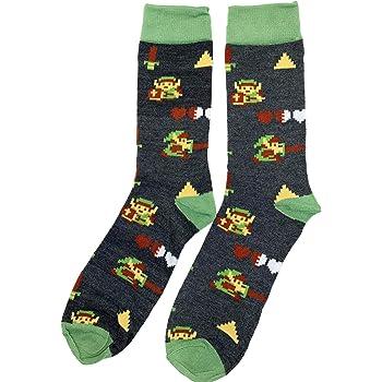 The Legend Of Zelda 8 Bit Link Crew Sock Pair Grey