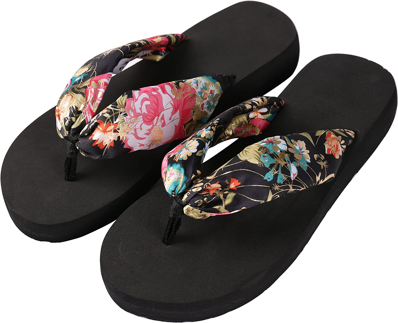 Aerusi Saki Floral Comfortable Wear Sandal Flip Flops, Us Women's Size 7, Black, 2 Piece