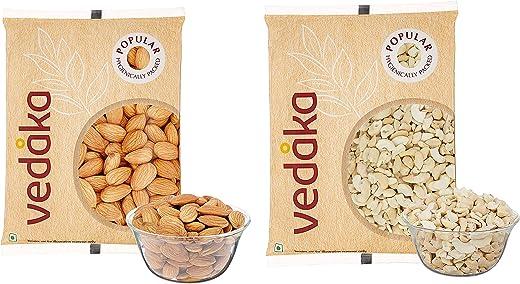 Vedaka Popular Whole Almonds, 200g & Vedaka Popular Cashews - Broken, 200g 1