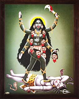 Handicraft Store Kali Maa Killing Lord Shiva, a Poster Painting with Frame for Worship, Must for Home and Office.