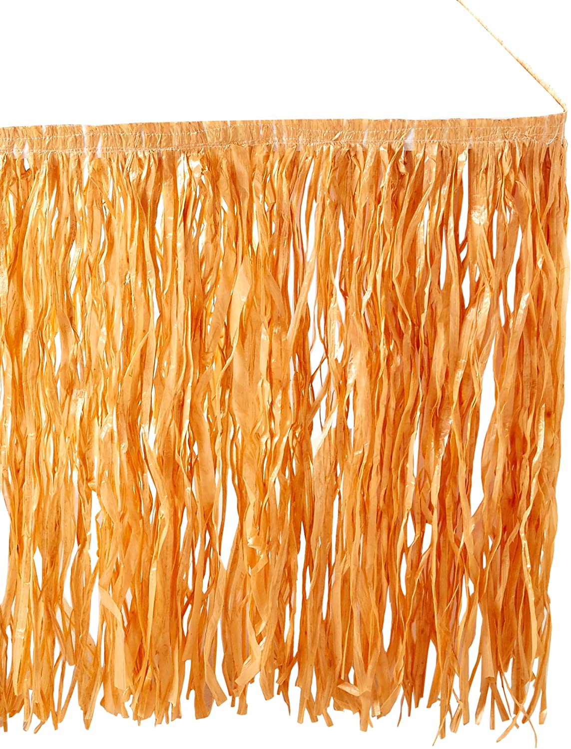 Tropical Raffia Luau Table Skirt (9 Ft. X 29 ) Artificial Grass in a Natural color.