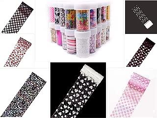 S.A.V.I DIY Colored Nail Transfer Foil Sticker Laser Line White Black Flower Lace Decal Nail Art Sticker Wrap Holographic Ethnic Pattern 120CMx4CM (Each) (7PCS 7 Colors)