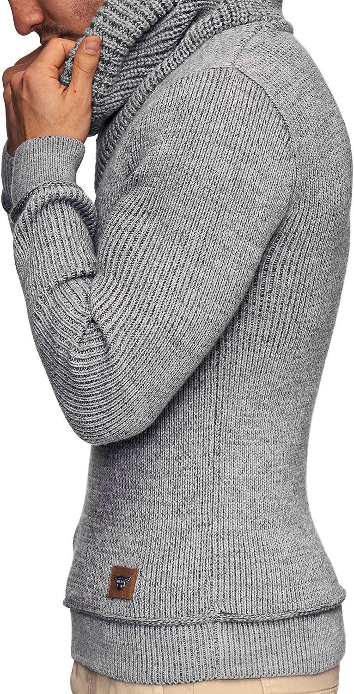 Indicode Herren Keshawn Grobstrick Winterpullover mit Schalkragen Warmer Herrenpullover moderner Marken-Pullover Hoddie Pulli bequemer Strickpullover Strickpulli f/ür M/änner