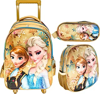3D 4 WHEEL TROLLEY BAG WITH BACKPACK FOR KIDS BOYS AND GIRLS INCLUDE LUNCH BAG AND PENCIL CASE/POUCH (FROZEN GOLD)