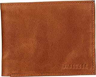 Finelaer Slim Classic Men RFID Bifold ID Wallet With Multiple Card Slots Leather Brown