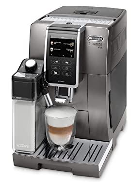 De'Longhi Dinamica Plus ECAM 370.95.T Kaffeevollautomat mit Milchsystem, Cappuccino und Espresso auf Knopfdruck, 3,5 Zoll TFT Touchscreen Farbdisplay und App-Steuerung, Kaffeekannen-Funktion, titan