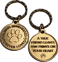 Always Remembered Forever Loved Keychain Pet Paw Print Dog Cat Memorial