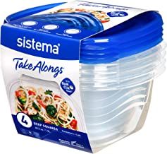 Sistema 54110 TakeAlongs 1.2L Deep Square 4pk - Blue