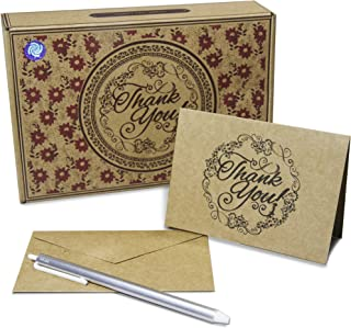 50 Count Kraft Thank You Cards with Envelopes and Pen