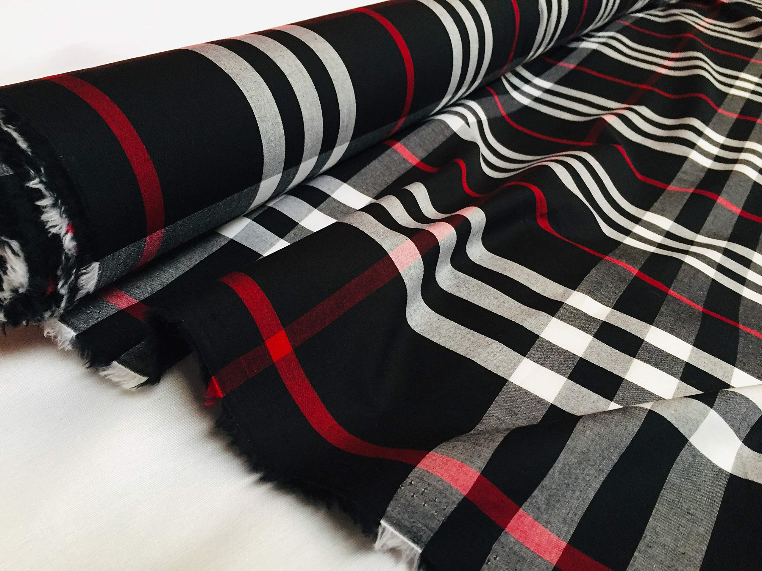LushFabric Tela para Camisa de tartán a Cuadros, Peso Ligero, de algodón, 145 cm de Ancho (se Vende por Metros): Amazon.es: Hogar