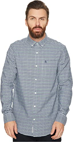 Original Penguin - Long Sleeve Gingham Oxford w/ Stretch Shirt