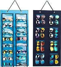 PACMAXI Dust-Proof Sunglasses Hanging Organizer, 32 Slots Double Sided Sunglasses Storage Wall Pocket, Eyeglasses Display Case, Eyewear Storage. (Blue)