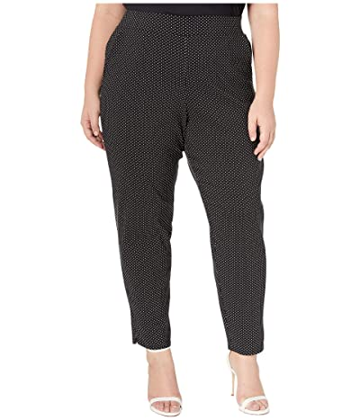 HUE Plus Size Classic Temp Tech Trouser Leggings (Black/Polka Dot) Women