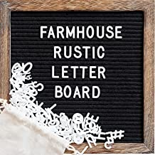 Felt Letter Board with 10x10 Inch Rustic Wood Frame, Script Words, Precut Letters, Picture Hangers, Farmhouse Wall Decor, ...