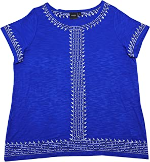 Rafaella Womens Short Sleeve Scoop Neck Embroidered Slub Top