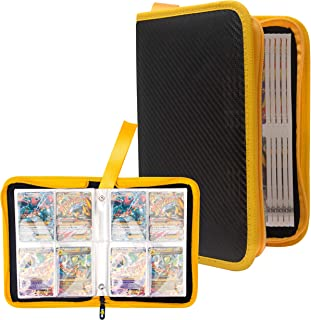 Totem World Zipper Binder Black Yellow with 25 4-Pocket Side-Loading Pages - Fits Pokemon, Yu-Gi-Oh, and Magic The Gathering Cards