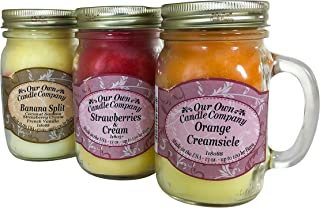 Our Own Candle Company Our Own Orange Creamsicle, Strawberries, Banana Split Ice Cream Variety Scented Mason Jar Candles, 13 oz (3 Pack)