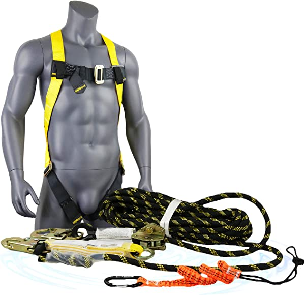 KwikSafety Charlotte NC TSUNAMI KIT 50 Ft Vertical Lifeline Rope 1D Full Body Harness Tool Lanyard External Shock Absorber ANSI OSHA Fall Arrest Restraint Protection Safety Equipment