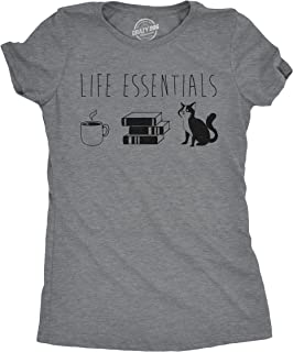 Womens Life Essentials Tshirt Funny Coffee Books Cat Lover Tee for Ladies