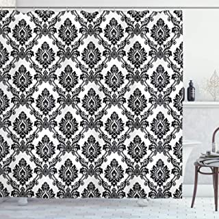Ambesonne Damask Decor Collection, Antique Classical Damask Flowers Pattern Traditional Artwork Decorative Design, Polyester Fabric Bathroom Shower Curtain, 84