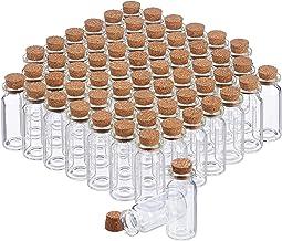 Relaxdays Glazen flesjes met kurk, 60 stuks, mini-flesjes voor olie, specerijen, kruiden, zand, 10 ml, decoratie, transparant