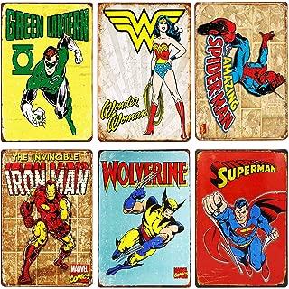 TISOSO Flash Retro Metal Tin Sign Superman,Iron Man,Wonder women,Green Lantern,Wolverine,Spider-Man Vintage Superhero Signs Bundle Marvel Comic Cover Coffee & Bar Wall Decor Home Sign Gift6pcs-8x12inc