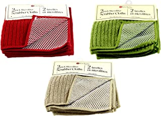 Kitchen Trends Microfiber Scrubber Cloths, Set of 2, Assorted Colors