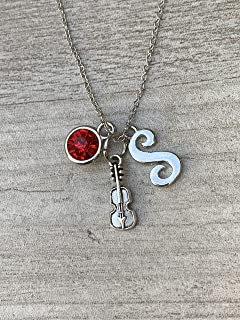 Personalized Violin Charm Necklace with Birthstone & Letter Charm, Viola, Cello Pendant Necklace, Violin Jewelry for Women, Teens and Girls