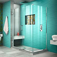 DreamLine Unidoor Plus 46 in. W x 34 3/8 in. D x 72 in. H Frameless Hinged Shower Enclosure, Clear Glass, Chrome, SHEN-24460340-01