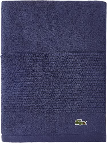 "Lacoste Legend Towel, 100% Supima Cotton Loops, 650 GSM, 30""x54"" Bath, Navy"