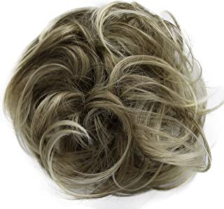 PRETTYSHOP Hairpiece Scrunchie Bun Up Do | Ponytail Extensions | Wavy Curly or Messy (Sandy Blonde Grey Mix 12T88)
