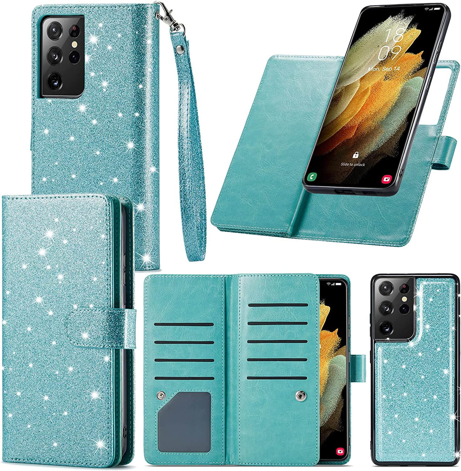 Varikke Samsung S21 Ultra Case Wallet, S21 Ultra Case with 9 Card Holder & Powerful Magnetic Detachable Cover & Kickstand Strap Lanyard Glitter PU Leather Flip Wallet Case for Galaxy S21 Ultra, Mint