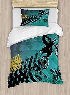 Lunarable Dirt Bike Duvet Cover Set, Extreme Sports Theme Stunt Racer Silhouette with Grunge Arrows, Decorative 2 Piece Bedding Set with 1 Pillow Sham, Twin Size, Blue Black