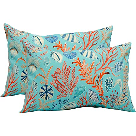 Set Of 2 In Outdoor 17 Square Decorative Throw Pillows Blue Peach White Cream Orange Coral Red Ocean Life Coastal Coral Reef Kitchen Dining
