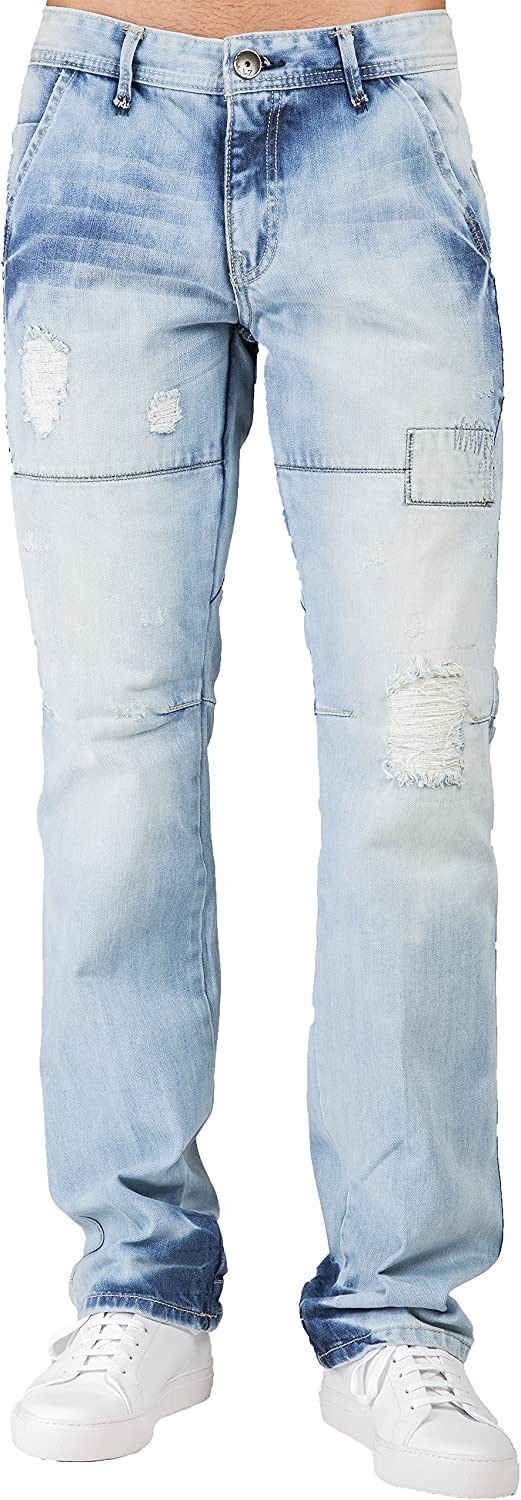 Level 7 Deluxe Men's Slim Straight Premium Blue Jeans High quality new Bleached Destroye