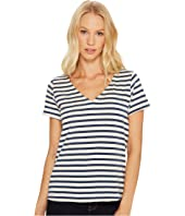 Three Dots - Breton Stripe V-Neck Short Sleeve Tee