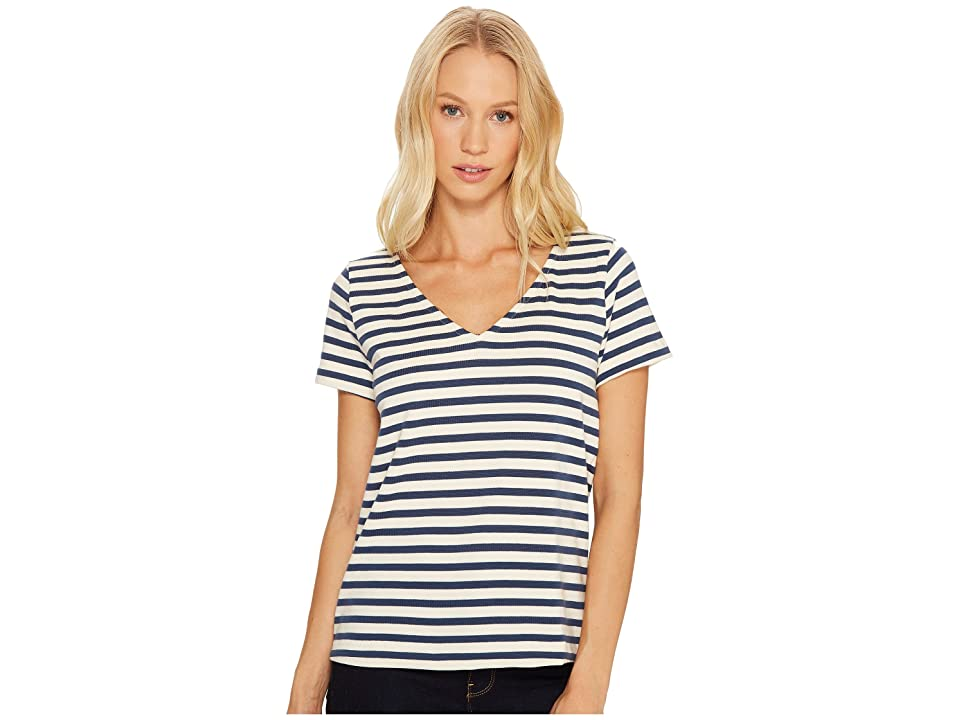 Three Dots Breton Stripe V-Neck Short Sleeve Tee (Cadet/Cream) Women